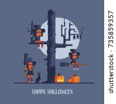 witches coven  pixel art style... | Shutterstock .eps vector #735859357
