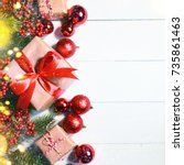 christmas holiday background... | Shutterstock . vector #735861463