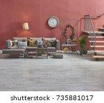 modern loft living room stairs... | Shutterstock . vector #735881017