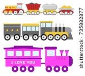 kids train toy vector set gift... | Shutterstock .eps vector #735882877