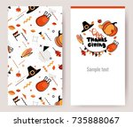 thanksgiving invitation cards... | Shutterstock .eps vector #735888067