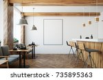 modern bar interior with white... | Shutterstock . vector #735895363