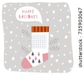 greeting card  happy holidays . ... | Shutterstock .eps vector #735903067