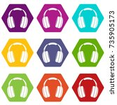 headphones icon set many color... | Shutterstock .eps vector #735905173