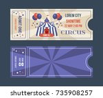 set of tickets for circus... | Shutterstock .eps vector #735908257