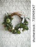 christmas composition. winter...   Shutterstock . vector #735909247