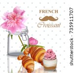 french breakfast card. pink... | Shutterstock .eps vector #735911707