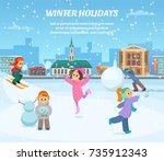 winter games. children in... | Shutterstock .eps vector #735912343