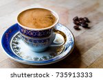 traditional turkish coffee with ... | Shutterstock . vector #735913333