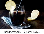 black lemonade with charcoal... | Shutterstock . vector #735913663