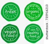 set of four vegetarian labels... | Shutterstock .eps vector #735916213