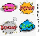 comic speech bubble set with... | Shutterstock .eps vector #735916723