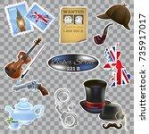 england. set of vector... | Shutterstock .eps vector #735917017