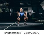 young athletic sportsman... | Shutterstock . vector #735923077