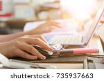 close up of female hands using... | Shutterstock . vector #735937663