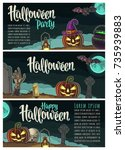 horizontal posters with... | Shutterstock .eps vector #735939883