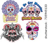 holy death  day of the dead ... | Shutterstock .eps vector #735945133