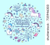 christmas card with various...   Shutterstock .eps vector #735946303