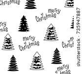 seamless black white merry...   Shutterstock .eps vector #735947887