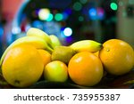 Small photo of whole fruits on a tray. close off.