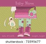 baby girl arrival announcement... | Shutterstock .eps vector #73595677