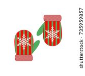 pair of christmas mittens on...   Shutterstock .eps vector #735959857