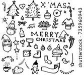 vector set of christmas drawn...   Shutterstock .eps vector #735960943