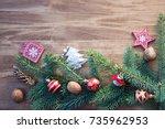 christmas wooden background... | Shutterstock . vector #735962953