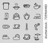 hot icons set. set of 16 hot... | Shutterstock .eps vector #735964483