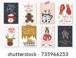set of creative 8 journaling... | Shutterstock .eps vector #735966253
