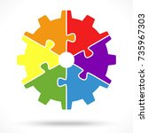 gear wheel with six colored... | Shutterstock .eps vector #735967303