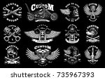 motorcycle vector set with... | Shutterstock .eps vector #735967393