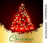 merry christmas and happy new...   Shutterstock .eps vector #735969643