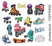 set of roller skates ... | Shutterstock .eps vector #735970903