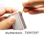 burning match stick. - stock photo