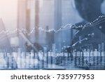 double exposure of businessman... | Shutterstock . vector #735977953