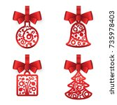 christmas decorations. red ball ...   Shutterstock .eps vector #735978403