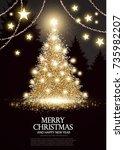 christmas tree. elegant card...   Shutterstock .eps vector #735982207