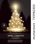 christmas tree. elegant card...   Shutterstock .eps vector #735982303