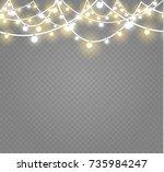 christmas lights isolated on...   Shutterstock .eps vector #735984247