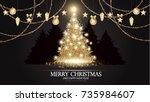 christmas tree. elegant card...   Shutterstock .eps vector #735984607