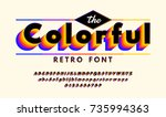 retro alphabets with vhs look... | Shutterstock .eps vector #735994363