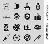 medicine icons set. set of 16... | Shutterstock .eps vector #735996613
