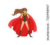 woman superhero in classic... | Shutterstock .eps vector #735998947