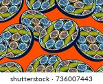 textile fashion  african print...   Shutterstock .eps vector #736007443