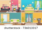apartment interiors web banners ... | Shutterstock . vector #736013317
