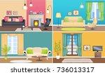 apartment interiors web banners ... | Shutterstock . vector #736013317