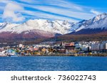 ushuaia aerial view. ushuaia is ... | Shutterstock . vector #736022743