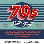 red retro font from 70's  80's  ... | Shutterstock .eps vector #736060507