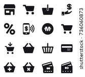 16 vector icon set   shop  cart ... | Shutterstock .eps vector #736060873